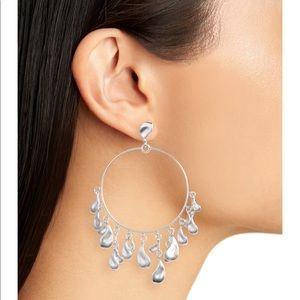Kendra Scott Natasha Hoop drop earrings Silver NWT